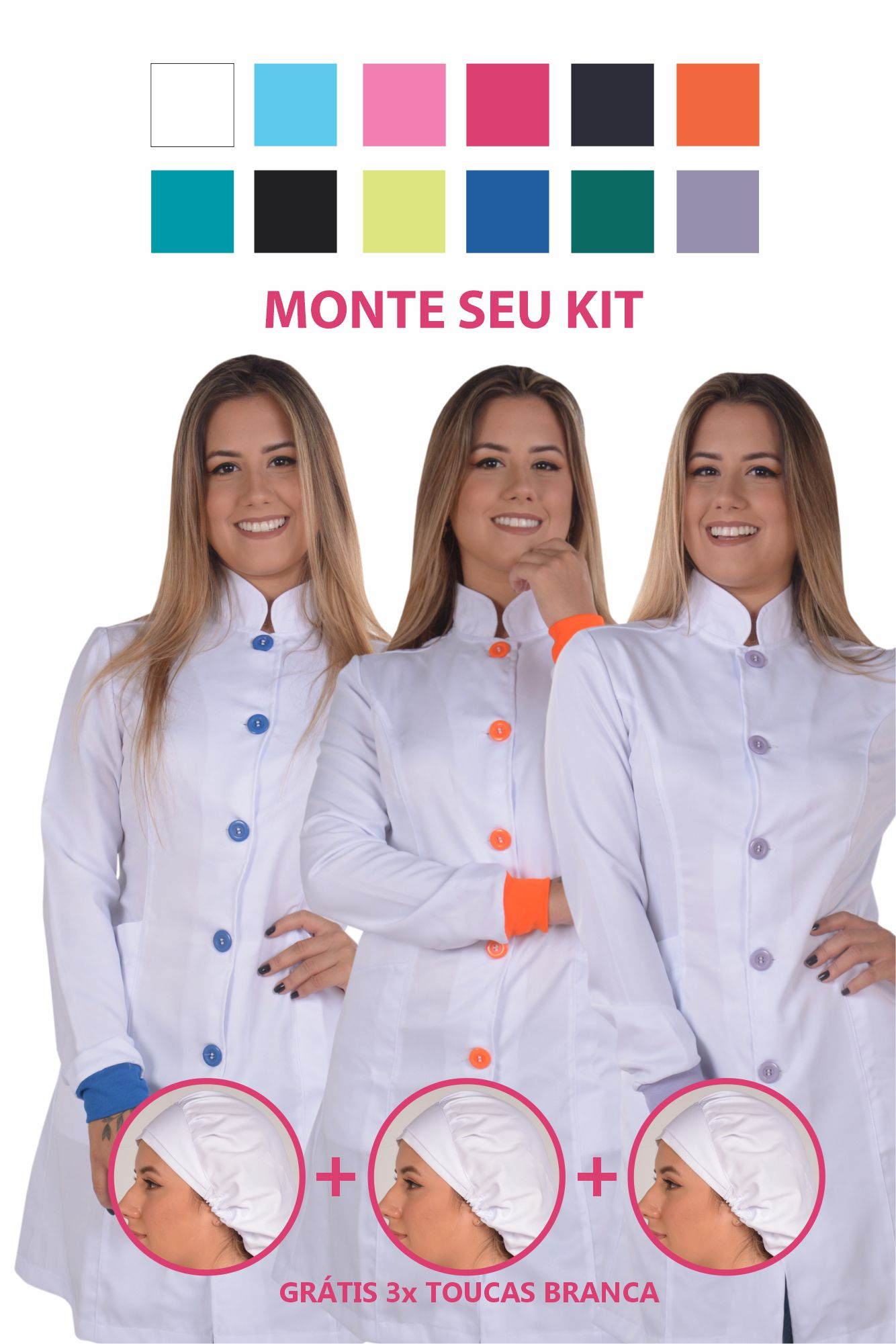 Kit 3x Jalecos Feminino Branco Colors + 3 Toucas - Monte Seu Kit