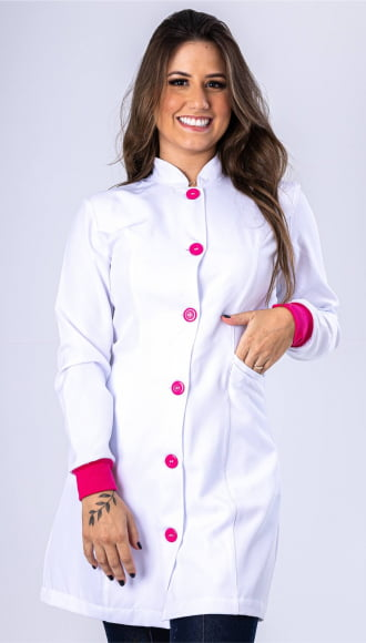 Jaleco Feminino Branco Acinturado com Punho Pink