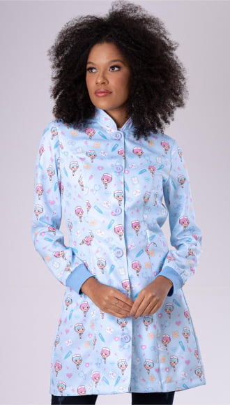 Jaleco Feminino Enfermagem Acinturado Azul
