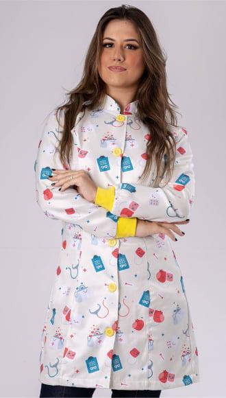 Jaleco Feminino Enfermagem Acinturado Gabardine Amarelo