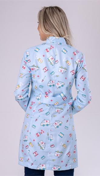 Jaleco Feminino Estampado Enfermagem Azul