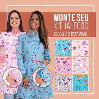Kit 2x Jalecos Feminino Pediatria + 2x Toucas - Escolha Suas Estampas