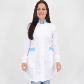Jaleco Branco Feminino Acinturado com Detalhes Azul