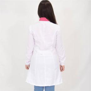 Jaleco Branco Feminino Acinturado com Detalhes Pink