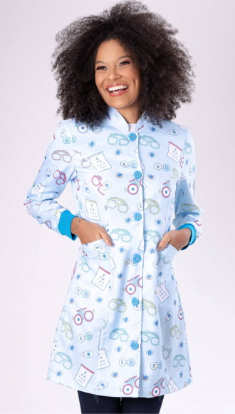 Jaleco Feminino Acinturado Estampado Oftalmologista Azul