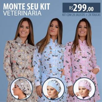 Kit 2x Jalecos Feminino Veterinária + 2x Toucas Ref:01 - Escolha Sua Cor