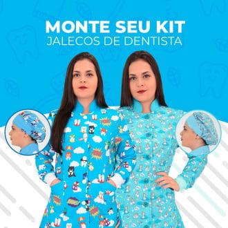 KIT 2X JALECO FEMININO ODONTOLOGIA ACINTURADO + 2X TOUCA - MONTE SEU KIT